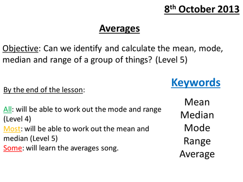 Averages mode median mean and range by TeachingMaths – Mean Mode Median and Range Worksheets