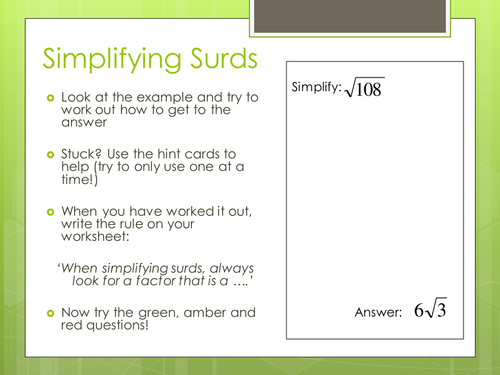Surds By Leannegadsby Teaching Resources Tes
