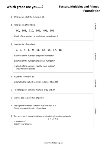 graded gcse sheet factors multiples and primes by mathsbox  graded gcse sheet factors multiples and primes by mathsbox  teaching  resources  tes