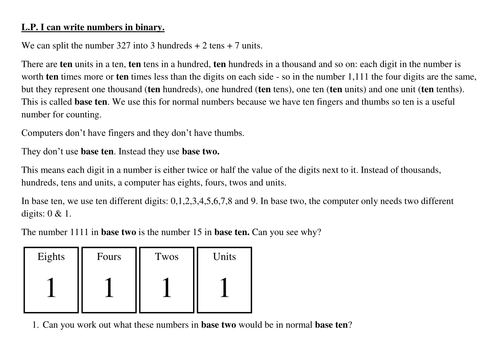 Binary worksheet by PeterTAEdwards - Teaching Resources - Tes