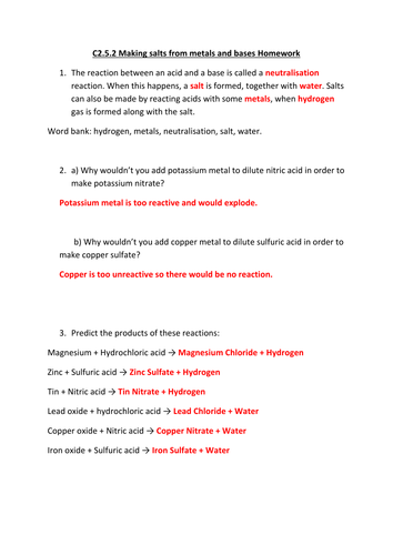 Making salt from metals or bases AQA C2.5.2 by gerwynb | Teaching ...