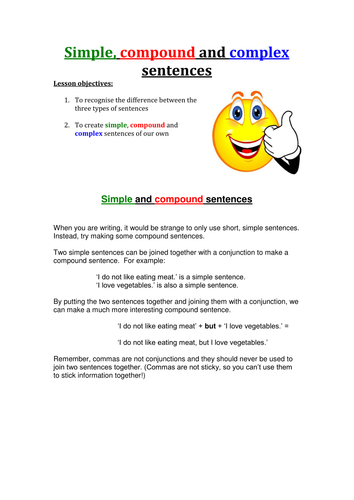 simple compound and complex sentences by rdigsworth teaching