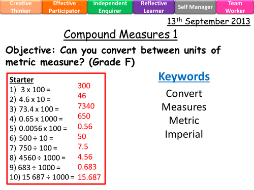 Metric Units Measures Converting Grade F Level 4