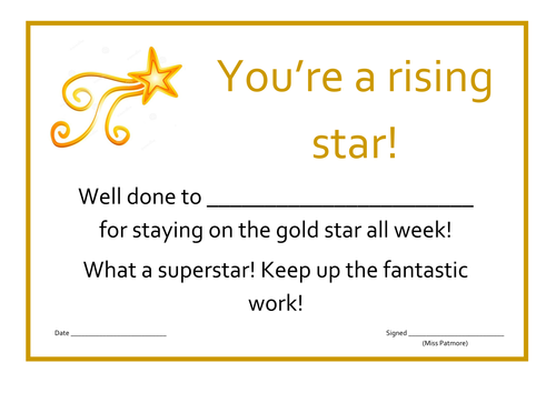 Rising star certificate by corrinep teaching resources tes yelopaper Image collections