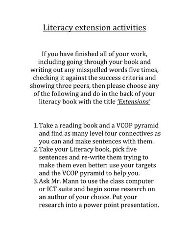 KS2 Literacy extension activities