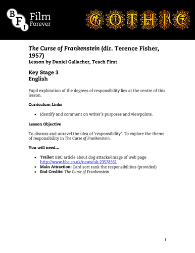 The Curse of Frankenstein - KS3 English