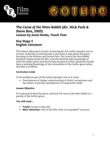 The Curse of the Were-Rabbit - KS5 English