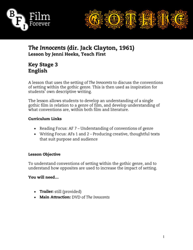 The Innocents - KS3 English Lesson 1