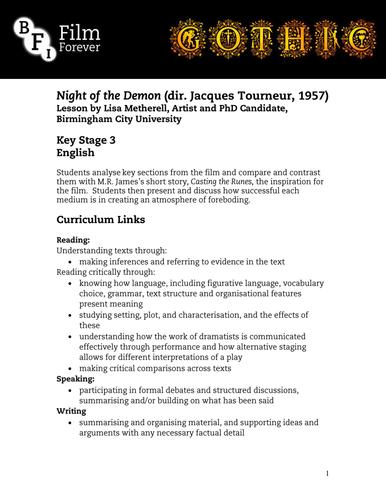 Night of the Demon - KS3 English