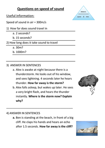 Worksheet On Speed Of Sound By Slimchandi Teaching Resources