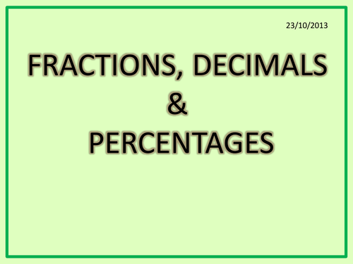 Percentages Fractions Decimals KS3KS4 answersNC by hassan2008 – Fractions Decimals and Percentages Worksheets Ks3