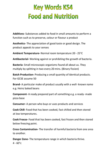 ks4 food nutrition key words by neryskate teaching resources tes