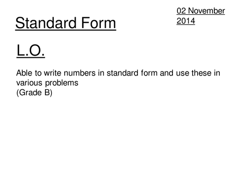 Intro To Standard Form By Davewilson Teaching Resources Tes