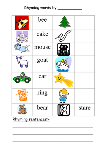 Rhyming sentences by annhatton | Teaching Resources