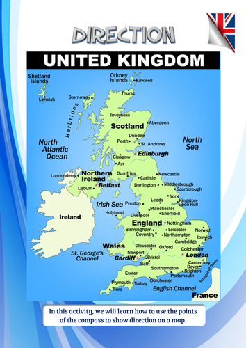 Map Directions Uk Using direction with UK cities by idj | Teaching Resources