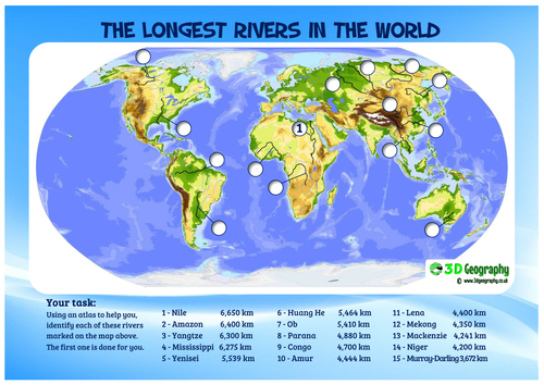 The Worlds Longest Rivers By Idj Teaching Resources Tes - Huang river world map