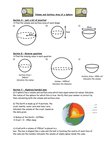 Worksheets Volume Of Spheres Worksheet volume and surface area of a sphere by owen134866 teaching 11 docx