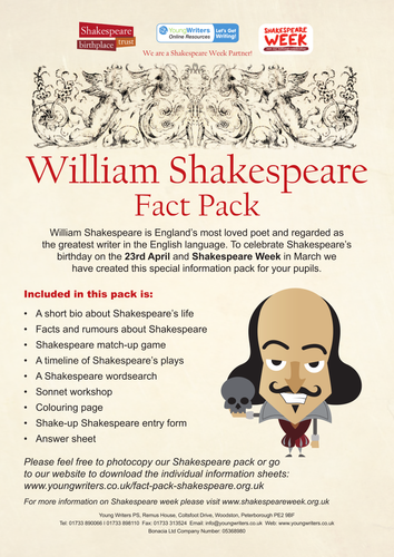 william shakespeare fact pack for key stage 2 by youngwriters teaching resources tes. Black Bedroom Furniture Sets. Home Design Ideas