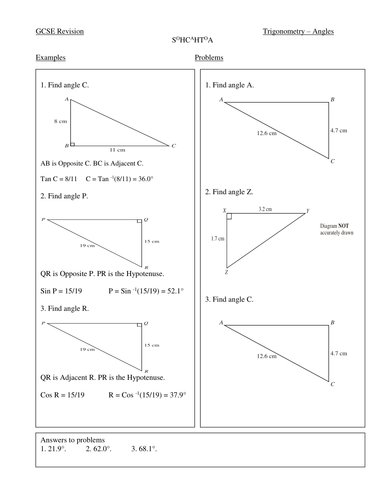 trigonometry revision worksheets by markast teaching resources tes. Black Bedroom Furniture Sets. Home Design Ideas