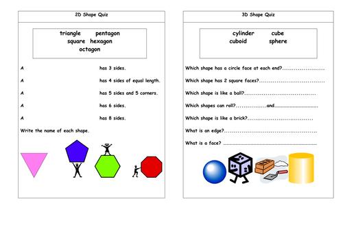 2D and 3D shape quiz