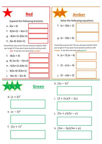 Expanding brackets ( Red, Amber, Green)