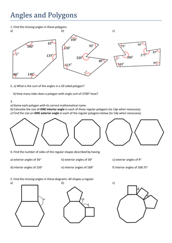 Angles Of Polygons Worksheet Worksheets Releaseboard Free Printable Worksheets And Activities
