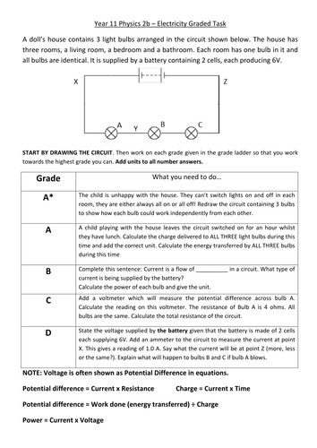 AQA Physics 2 Electrical Circuits Graded Tasks