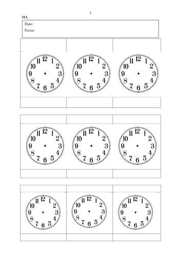Year 3 - Time sheets for analogue and digital
