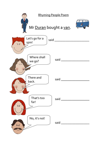 Rhyming Couplets People Poem by nat25 - Teaching Resources ...