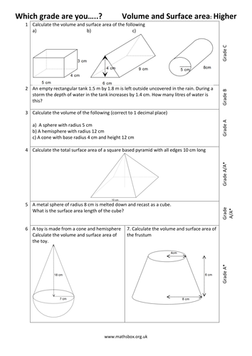 Graded GCSE Higher - VOLUME AND SURFACE AREA