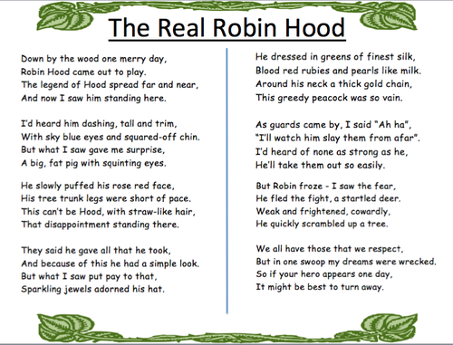 the real robin hood poem by o moone teaching resources tes. Black Bedroom Furniture Sets. Home Design Ideas