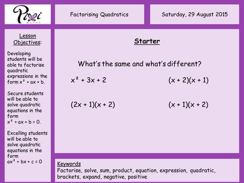 Factorising quadratics by PixiMaths Teaching Resources TES – Factoring Quadratic Expressions Worksheet