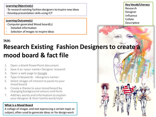 Fashion Designer Research Task Ict Room Required Teaching Resources