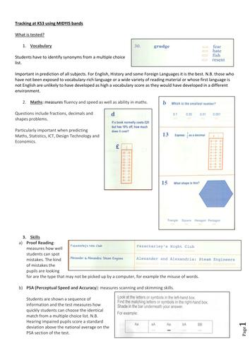 understanding MidYis data