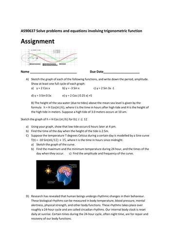Trigonometry worksheet/Assignment