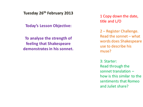 Shakespeare & Sonnets Scheme for Control Ass. Y10