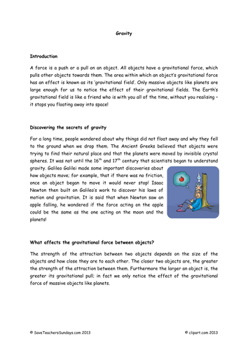 Gravity Lesson Plan, Explanation Text and Worksheets