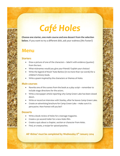 Homework Menu for Holes by Louis Sachar