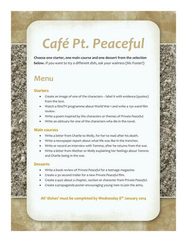 Homework menu for Private Peaceful by M. Morpurgo