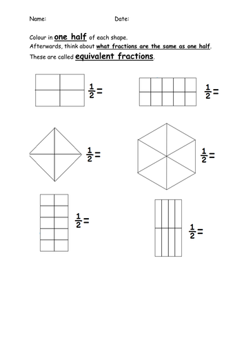 Shading Equivalent Fractions Half By Mrdhenshaw