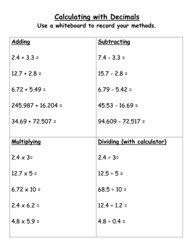Add, subtract, multiply and divide by bench9 - Teaching Resources ...Decimals - Add, Subtract, Multiply, Divide