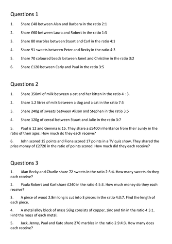 All Worksheets » Proportion Worksheets Word Problems - Childern ...