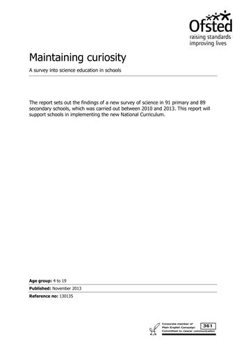 Maintaining Curiosity - Science Osfted Advice 2013