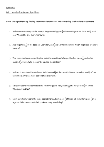 Fraction word problems by Saf82 - Teaching Resources - Tes