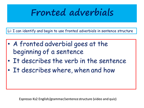 Fronted Adverbials By Sarahunderwood Teaching Resources Tes
