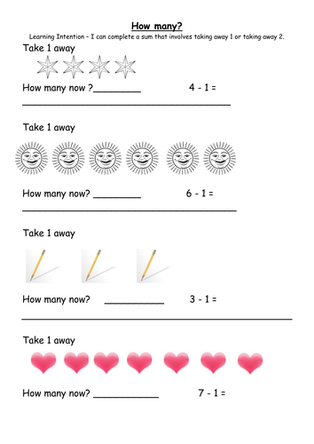 Common Worksheets take away worksheet : Take one and take 2 away worksheet with visuals. by MrsHutchison ...