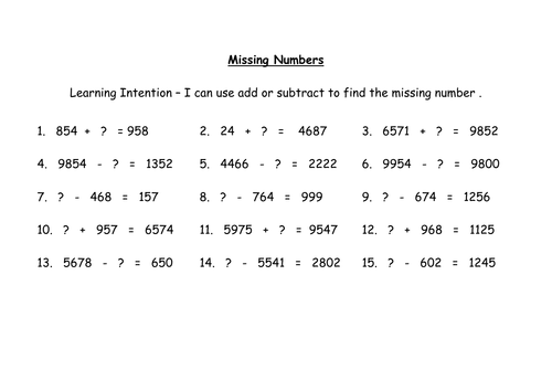 Addition and Subtraction missing number sums by MrsHutchison – Missing Number Addition and Subtraction Worksheets