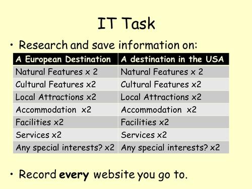 BTEC Travel & Tourism Unit 4. Tourist destinations