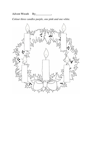Advent Wreath Colouring Sheet Five Candles by JafflePie