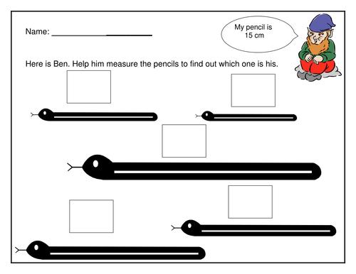 Simple measuring length worksheet by littleprettythings - Teaching ...